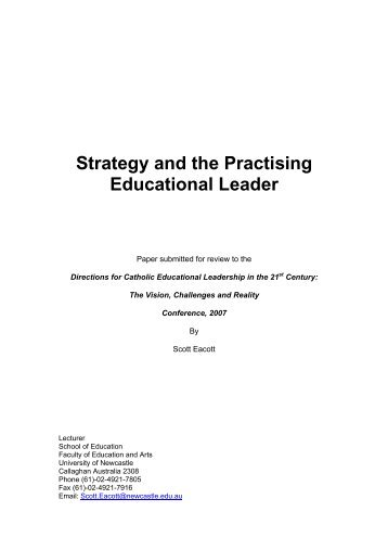 Strategy and the Practising Educational Leader