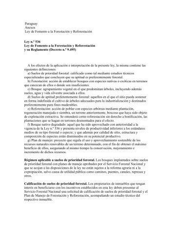 Paraguay Anexos Ley de Fomento a la Forestación y ... - CEDAF