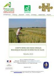 Récolte 2013 - Chambre d'agriculture