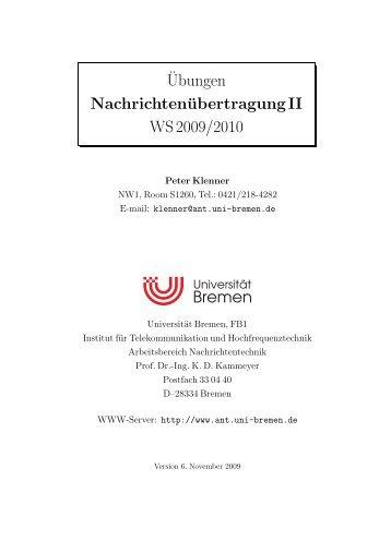 ¨Ubungen NachrichtenübertragungII WS 2009/2010 - Universität ...
