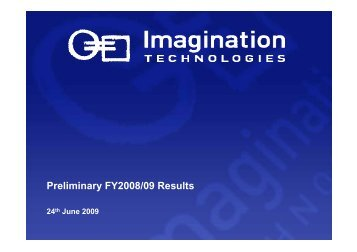 Download Preliminary FY2008/2009 Results Presentation