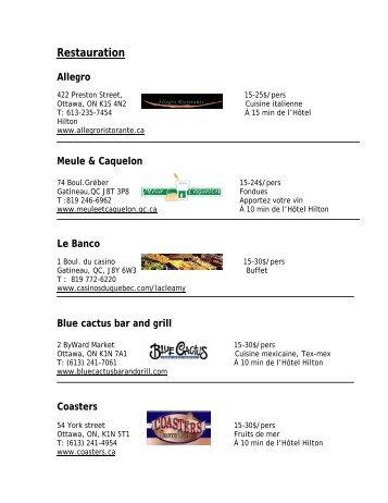 Consultez la liste des restaurants à proximité du ... - Congrès 2011