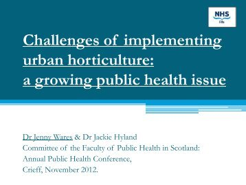 Challenges of implementing urban horticulture: a growing public ...