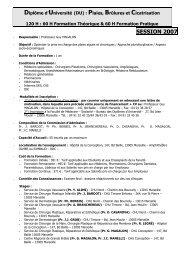 SESSION 2007 - Diplôme universitaire de cicatrisation des plaies ...