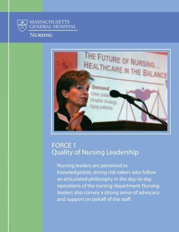 Force 1: Quality of Nursing Leadership - Mghpcs.org