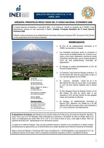 AREQUIPA: PRINCIPALES RESULTADOS DEL IV CENSO ... - Inei