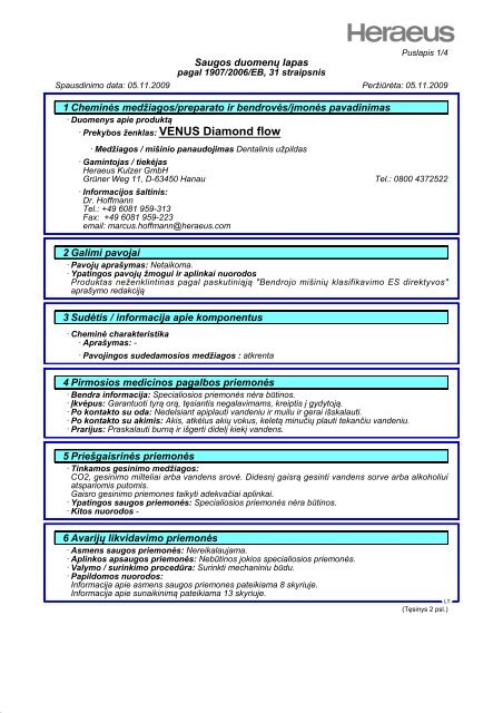 Saugos duomenų lapas 1 Cheminės medžiagos ... - Heraeus