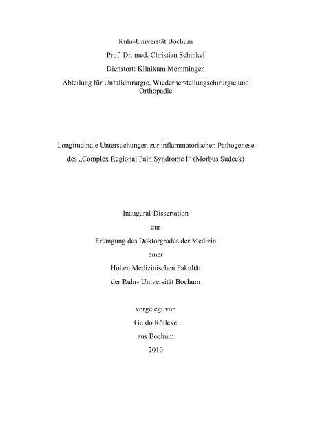 Longitudinale Untersuchungen zur inflammatorischen Pathogenese ...