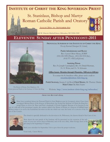 August 28, 2011 (Eleventh Sunday after Pentecost) - Institute of ...