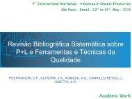 Revisão Bibliográfica Sistemática sobre P+L e Ferramentas e ...