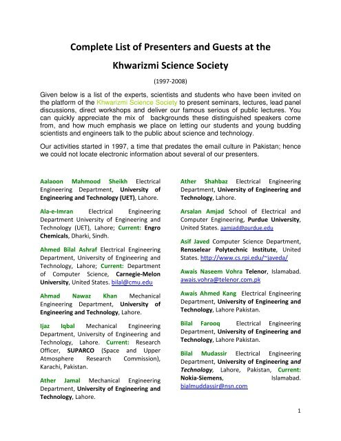 Complete List of Presenters and Guests at the Khwarizmi Science