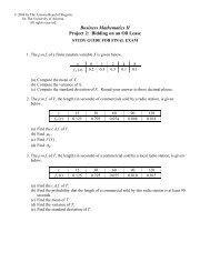 Final Exam - University of Arizona