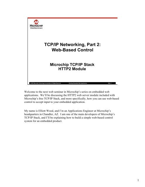 TCP/IP Networking, Part 2: Web-Based Control - Microchip