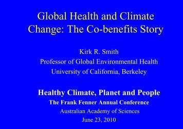 Global Health and Climate Change: The Co-benefits Story