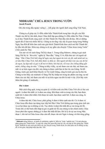 MIDRASH:1 CHÚA JESUS TRONG VƯỜN