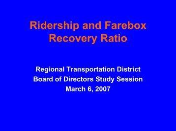 Ridership and Farebox Recovery Ratio - RTD