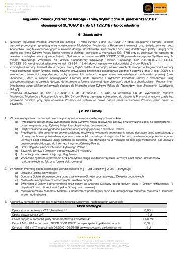 Regulamin Promocji Internet dla Każdego - Trafny ... - Cyfrowy Polsat