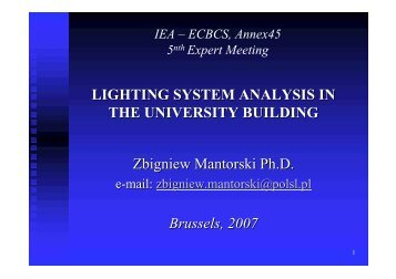 LIGHTING SYSTEM ANALYSIS IN THE UNIVERSITY BUILDING ...