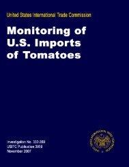 Monitoring of U.S. Imports of Tomatoes 2007 - USITC