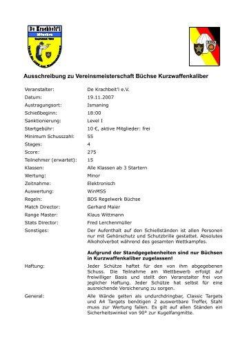 Ausschreibung zu Vereinsmeisterschaft Büchse ... - IPSC Bavaria eV