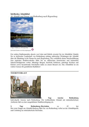 Idyllisches Altmühltal An Altmühl und Donau von ... - Eine Welt Reisen