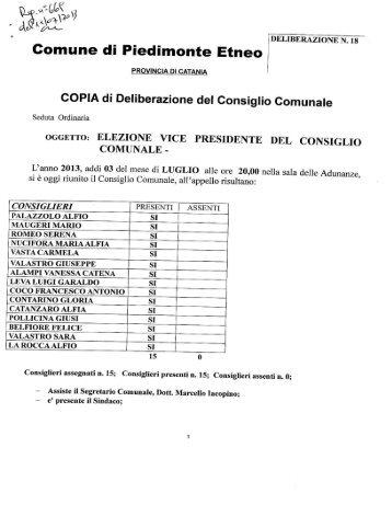 elezione vice presidente del consiglio comunale - Comune di ...
