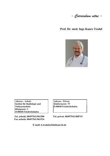 Curriculum vitae - Prof. Dr. med. Inge Kaare Tesdal - Baden-Tour