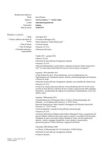 Curriculum - Diras - Università degli Studi di Genova