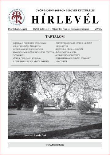 A 2008/1. sz. hírlevél letöltése PDF formátumban - Bartók Béla ...