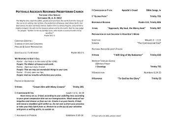 09-30-2012 Bulletin - Pottsville Associate Reformed Presbyterian ...