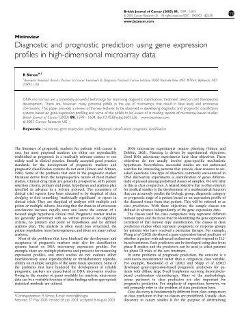 Diagnostic and prognostic prediction using gene expression profiles ...