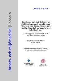 Beskrivning och utvärdering av en rehabiliteringsmodell inom ...