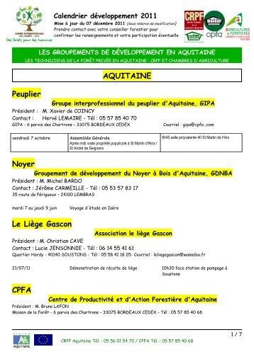 Calendrier 2011 - Le Centre Régional de Propriété Forestière (CRPF)