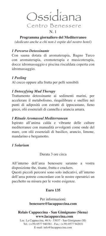 Programmi Centro Benessere Ossidiana - Relais La Cappuccina