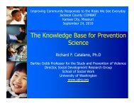 The Knowledge Base for Prevention Science