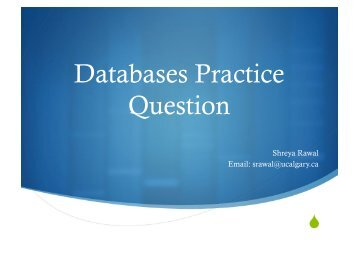 Databases Practice Question - University of Calgary Wiki