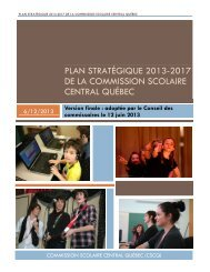 Plan stratégique 2013 - Commission scolaire Central Québec
