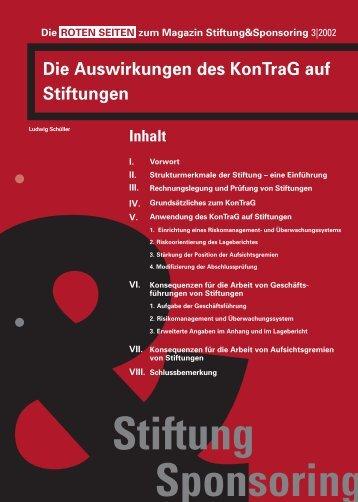 Die Auswirkungen des KonTraG auf Stiftungen - Solidaris ...
