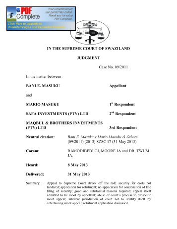 IN THE SUPREME COURT OF SWAZILAND JUDGMENT ... - SwaziLII
