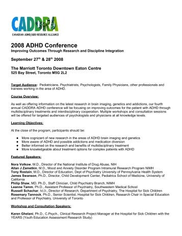 2008 ADHD Conference - CEPD University of Toronto