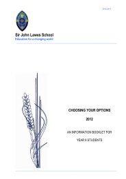 Year 9 Options Booklet 2012 - Sir John Lawes School