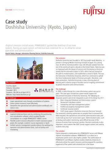 Case study Doshisha University (Kyoto, Japan)