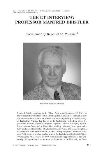 THE ET INTERVIEW: PROFESSOR MANFRED DEISTLER ... - EOS
