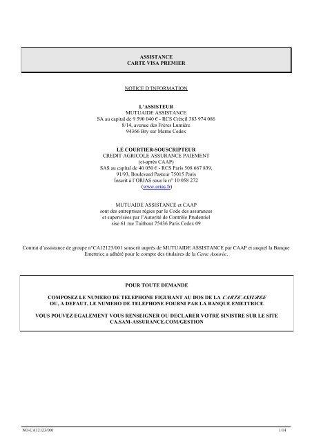 assistance carte visa premier assistance carte bleue VISA PREMIER   Crédit Agricole Franche