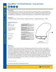 SoundPlus™ TV Infrared Receiver • Model WIR ... - Williams Sound