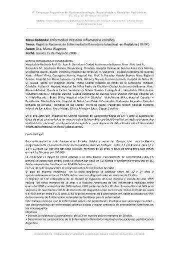 Registro Nacional de Enfermedad Inflamatoria Intestinal en Pedi