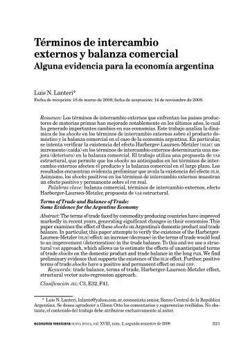 Términos de intercambio externos y balanza comercial - economía ...