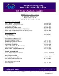 DYS Western Region Contact List - the Youth Advocacy Division