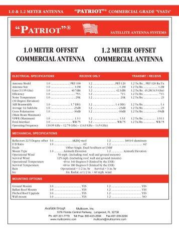 """patriot""® 1.2 meter offset commercial antenna - Multicom"