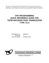 CPS Programming Quick Reference Guide - Technisonic Industries